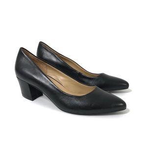 Naturalizer Carmen Black Leather Pointed Toe Heels